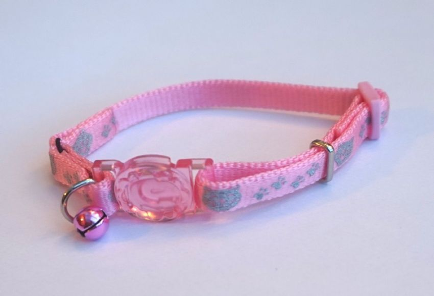 REFLECTIVE PINK KITTEN SAFETY COLLAR WITH ELASTIC & QUICK RELEASE SNAP BUCKLE